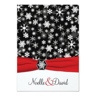 """Copos de nieve negros, blancos, rojos que casan la invitación 5"""" x 7"""""""