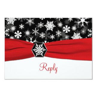 """Copos de nieve negros, blancos, rojos que casan la invitación 3.5"""" x 5"""""""