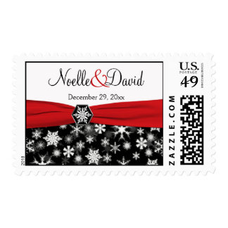 Copos de nieve negros, blancos, rojos que casan sello postal