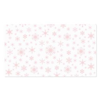 Copos de nieve - palidezca - rosa en blanco plantilla de tarjeta de negocio