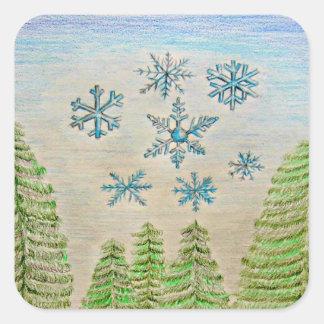 copos de nieve pegatina cuadrada