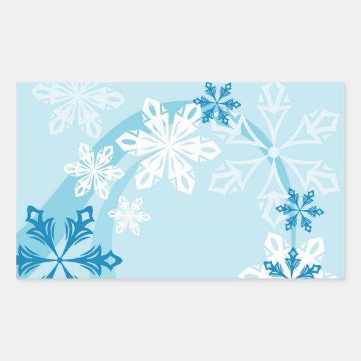 Copos de nieve pegatina rectangular