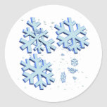 Copos de nieve pegatina redonda