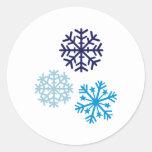 Copos de nieve pegatinas redondas