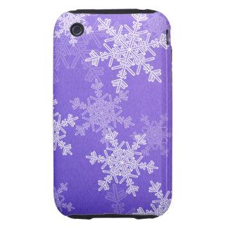 Copos de nieve profundos femeninos del navidad azu iPhone 3 tough carcasa