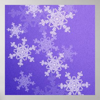 Copos de nieve profundos femeninos del navidad azu impresiones