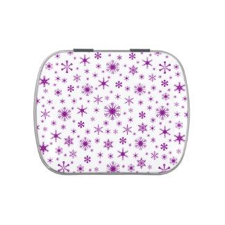 Copos de nieve - púrpura en blanco frascos de caramelos