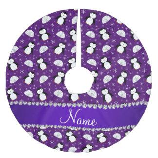 Copos de nieve púrpuras conocidos de encargo de falda para arbol de navidad de poliéster