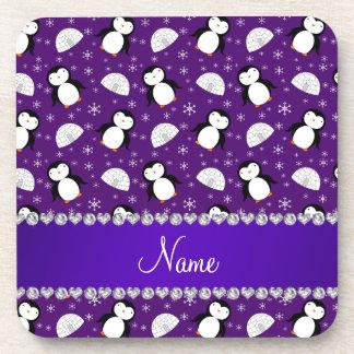 Copos de nieve púrpuras conocidos de encargo de posavasos de bebidas