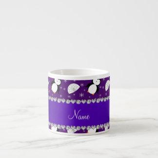 Copos de nieve púrpuras conocidos de encargo de taza espresso