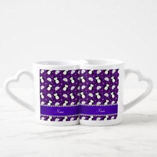 Copos de nieve púrpuras conocidos de encargo de tazas para enamorados