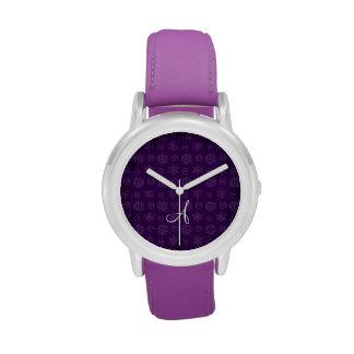 Copos de nieve púrpuras de las estrellas del navid relojes de pulsera