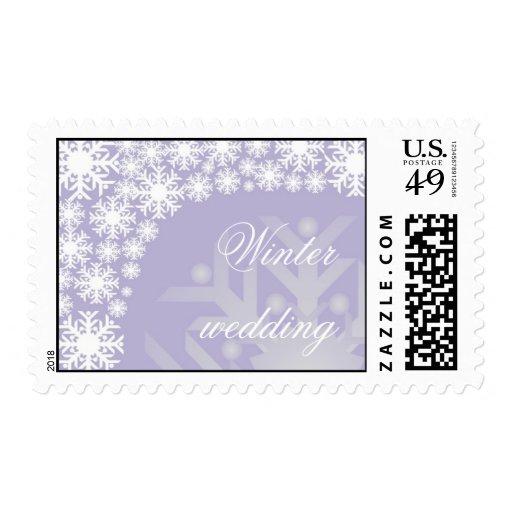 Copos de nieve púrpuras helados - sello del boda d