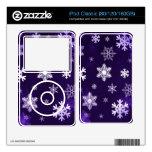 Copos de nieve púrpuras oscuros calcomanías para el iPod