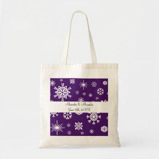 Copos de nieve púrpuras que casan favores bolsa de mano