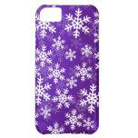 Copos de nieve púrpuras y blancos