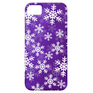 Copos de nieve púrpuras y blancos iPhone 5 fundas