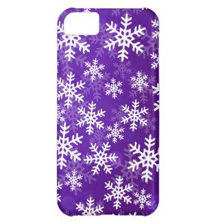 Copos de nieve púrpuras y blancos funda para iPhone 5C