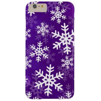 Copos de nieve púrpuras y blancos funda barely there iPhone 6 plus