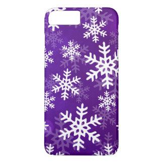 Copos de nieve púrpuras y blancos funda iPhone 7 plus