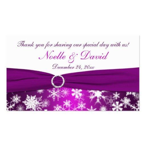 Copos de nieve púrpuras y blancos que casan la tarjetas de visita