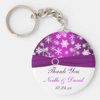 Copos de nieve púrpuras y blancos que casan llavero redondo tipo pin