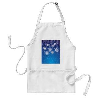 Copos de nieve que cuelgan chispeantes en azul delantal