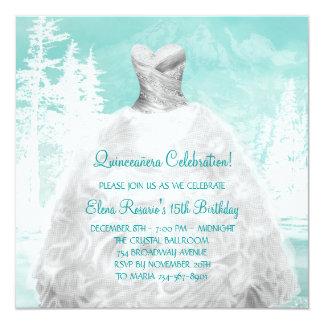 Copos de nieve Quinceanera de las azules turquesas Invitación 13,3 Cm X 13,3cm