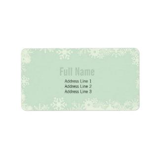 Copos de nieve retros 2 etiquetas del navidad etiquetas de dirección