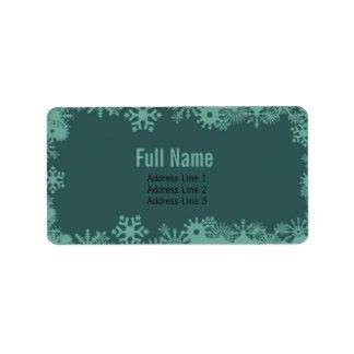 Copos de nieve retros 5 etiquetas del navidad etiqueta de dirección