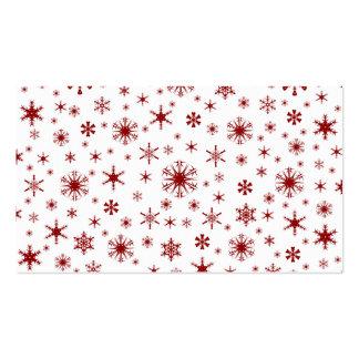 Copos de nieve - rojo oscuro en blanco plantillas de tarjeta de negocio