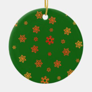 Copos de nieve (rojo y oro) adorno navideño redondo de cerámica