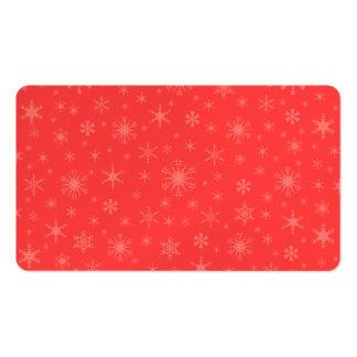 Copos de nieve - rojos claros en rojo plantilla de tarjeta personal