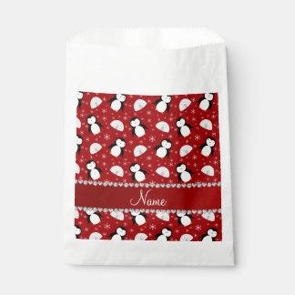 Copos de nieve rojos conocidos personalizados de bolsa de papel