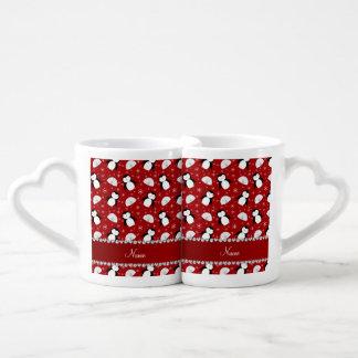 Copos de nieve rojos conocidos personalizados de taza amorosa
