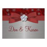 Copos de nieve rojos del terciopelo y de la plata invitacion personalizada