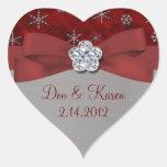 Copos de nieve rojos del terciopelo y de la plata pegatinas de corazon personalizadas
