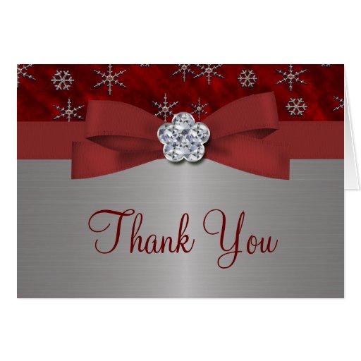 Copos de nieve rojos del terciopelo y de la plata felicitaciones