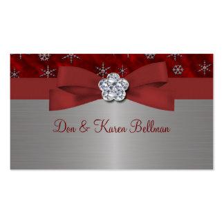 Copos de nieve rojos del terciopelo y de la plata tarjetas de negocios