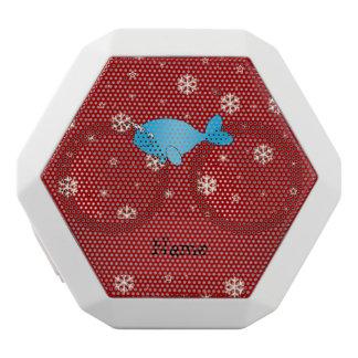 Copos de nieve rojos narwhal conocidos altavoces bluetooth blancos boombot REX