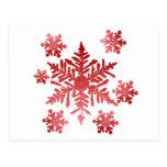 Copos de nieve rojos postal