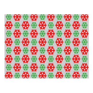 Copos de nieve rojos y verdes del navidad postal