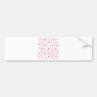 Copos de nieve - rosa oscuro en blanco pegatina de parachoque