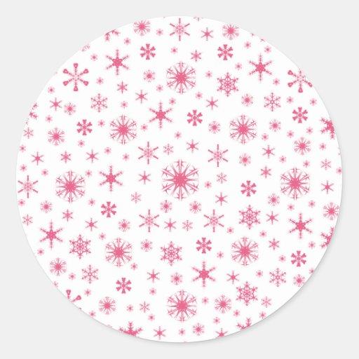 Copos de nieve - rosa oscuro en blanco pegatinas redondas