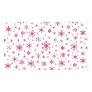 Copos de nieve - rosa oscuro en blanco plantillas de tarjeta de negocio