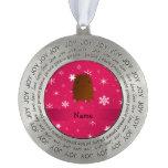 Copos de nieve rosados conocidos personalizados de adorno redondo de peltre