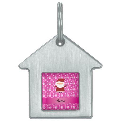 Copos de nieve rosados conocidos personalizados de placa de mascota