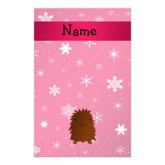 Copos de nieve rosados conocidos personalizados de papeleria