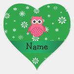 Copos de nieve rosados conocidos personalizados de colcomanias corazon