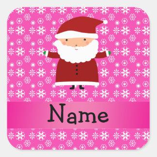 Copos de nieve rosados conocidos personalizados de pegatina cuadradas personalizadas